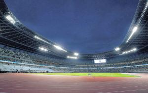 東京五輪のメインスタジアム、国立競技場のフィールド
