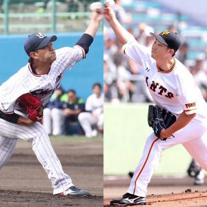 ヤクルト・高橋(左)と巨人・菅野