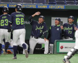 8回2死二塁、青木宣親が同点2ランを放ち、笑顔で迎える高津臣吾監督(右から2人目)