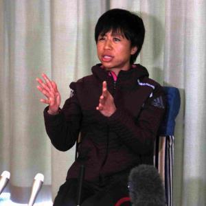 名古屋ウィメンズマラソンの途中棄権から一夜明け、会見を行った福士加代子(カメラ・太田 涼)