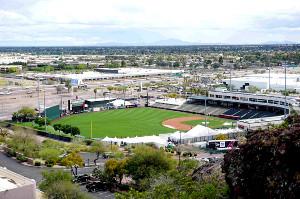 オープン戦が中止となり、選手もほぼ現れなかったエンゼルスのキャンプ地・米アリゾナ州テンピのディアブロスタジアム(2020年3月13日撮影)