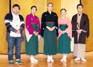 「レビュー春のおどり」製作発表会見を行った(左から)荻田浩一、楊琳、桐生麻耶、舞美りら、尾上菊之丞