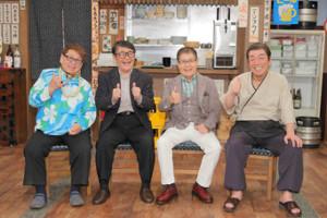 「ザ・ドリフターズ」の(左から)高木ブー、仲本工事、加藤茶、志村けんさん(2017年3月撮影)
