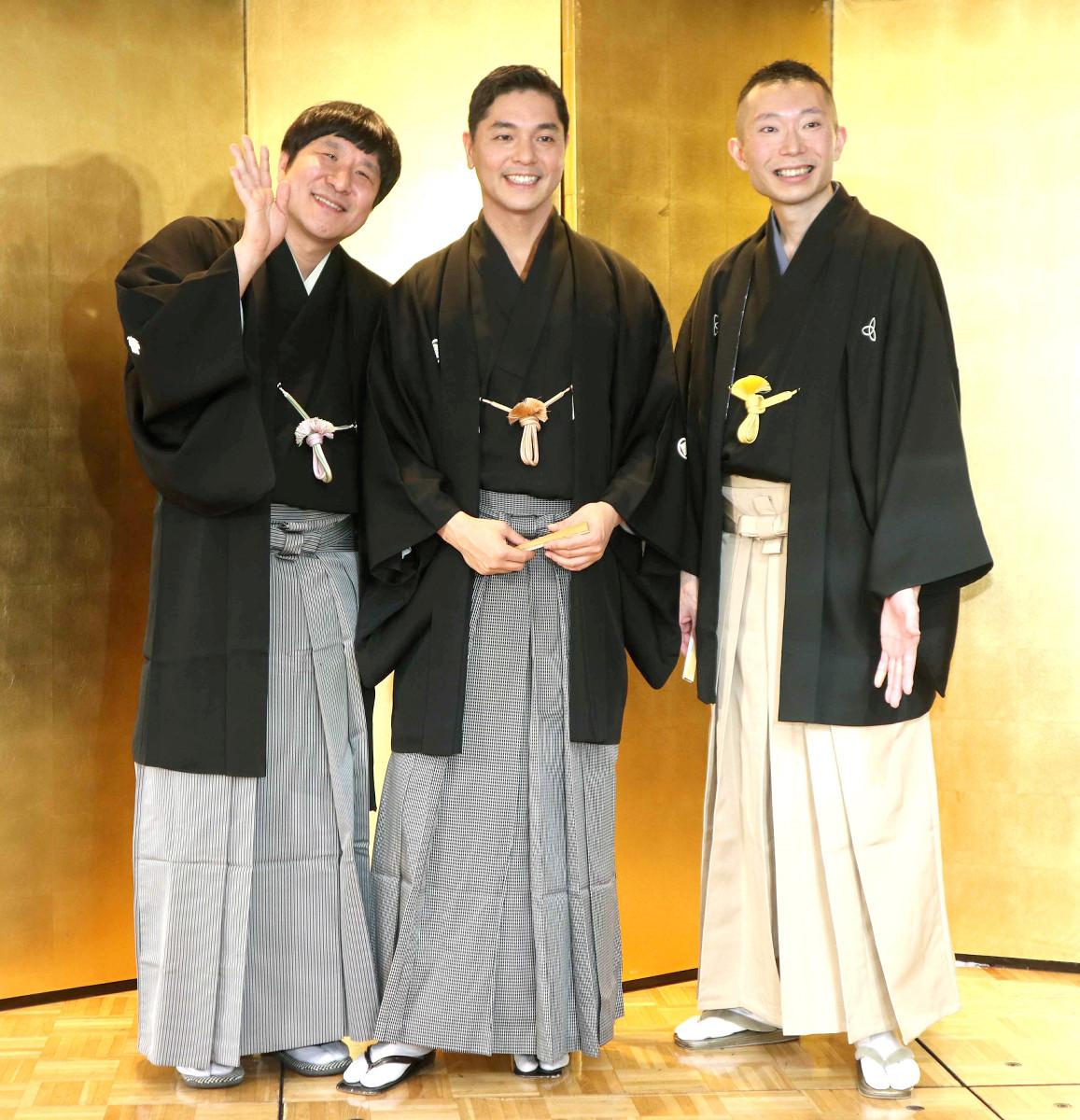 (左から)瀧川鯉八、昔昔亭A太郎、伸三改め桂伸衛門