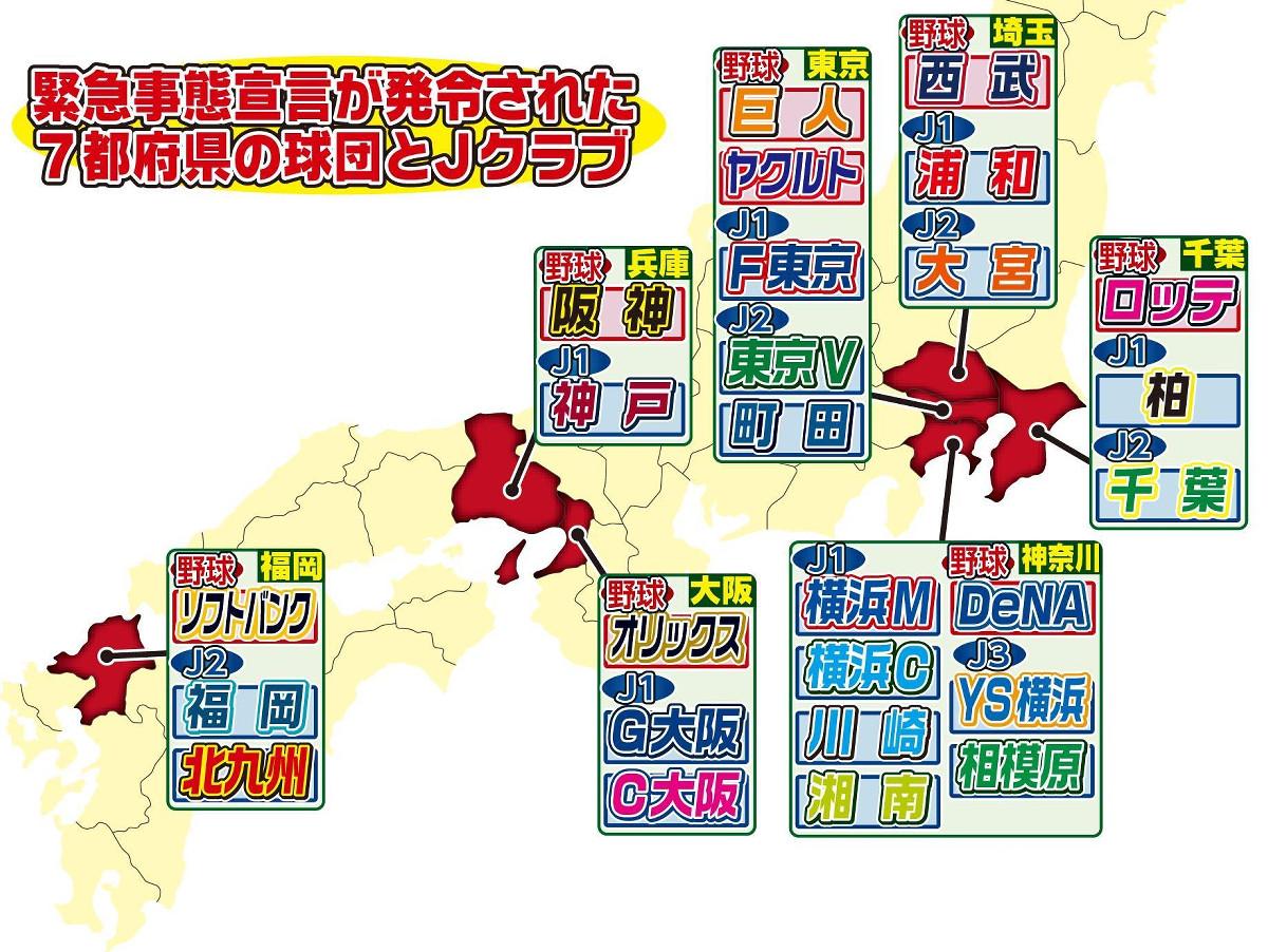 緊急事態宣言が発令された7都府県の球団とJクラブ