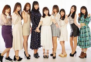 (左から)ナミ、なるみれい、瀬戸ローズ、竹花有紗、塚田ありさ、白石かえで、紗月めい、サーシャ菜美、白藤有華