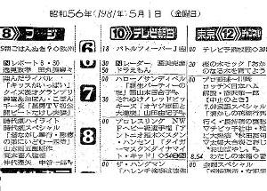 1981年5月1日付「報知新聞」テレビ欄より抜粋