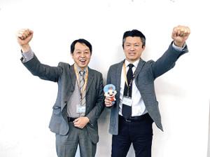 日本ペイントマレッツのフロントスタッフに加わった森貴信氏(左)、江藤真弘氏(日本ペイントHD提供)