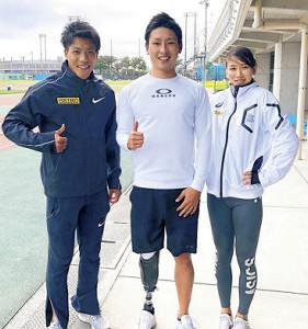 仲田トレーナーに師事し、来年の五輪・パラリンピックに挑む(左から)山県亮太、井谷俊介、福島千里(セイコー提供)