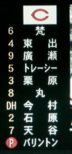 7番DHに今村が入った広島スタメン