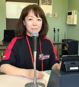 ロッテで主催試合のアナウンス担当を務める谷保恵美さん