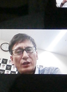「Zооm」での記者会見に参加した日本ボクシングコミッションの安河内剛本部事務局長