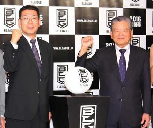 大河正明チェアマン(左)と川淵三郎氏