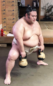 基礎トレーニングに励む貴景勝(日本相撲協会提供)