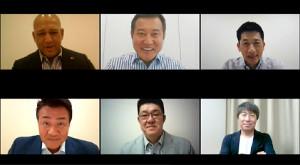 セ・リーグ開幕告知動画で共演した巨人・原監督(上段中央)ら6球団の監督