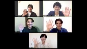 カンテレ「東京男子図鑑」出演者がオンラインで「男子会」を開催(上段左から)牧田哲也、竹財輝之助(中段左から)森岡龍、瀧川英次(下段)水間ロン(提供写真)