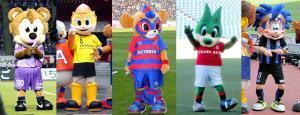 J1クラブのマスコット(左から)広島・サンチェ、柏・レイくん、F東京・東京ドロンパ、浦和・レディア、G大阪・ガンバボーイ