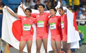 リオ五輪男子400mリレーで銀を獲得した(左から)山県亮太、飯塚翔太、桐生祥秀、ケンブリッジ飛鳥