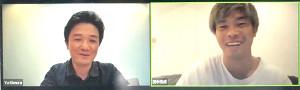 オンラインでトークショーを行なった(左から)木村悠さん、田中恒成