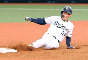 3回1死満塁、右翼線適時二塁打を放ち滑り込む吉田正