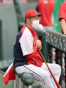 マスク姿で練習を見守る広島・佐々岡監督