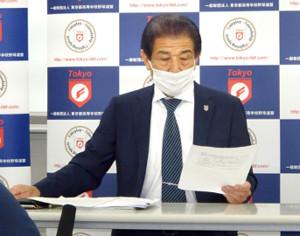 暫定日程から1週間遅れでの独自大会開催を発表した東京都高野連・武井専務理事
