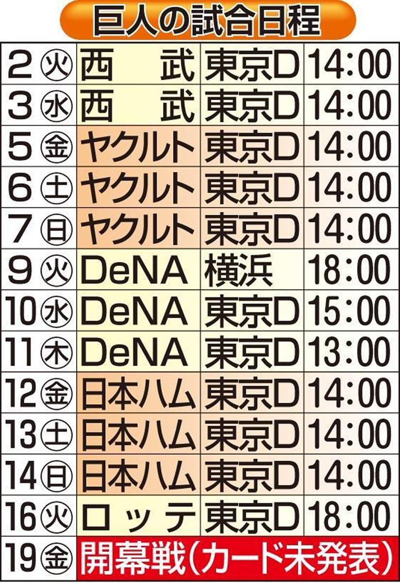 巨人の試合日程