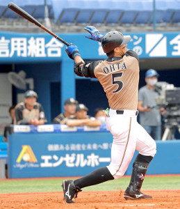3回に逆転の2点本塁打を放った大田(カメラ・泉 貫太)