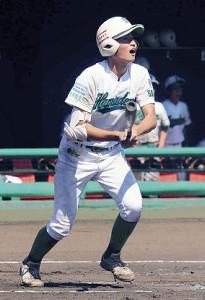 1回1死一、二塁、右越えに先制のエンタイトル二塁打を放った浜寺・矢野