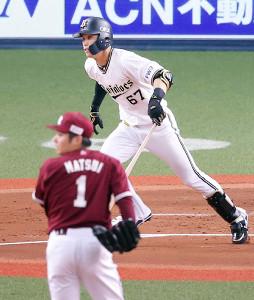 1回2死一、三塁、中川圭太が右前へ先制適時打を放つ(投手・松井裕樹)