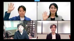 ドラマ「スイッチ」オンライン記者会見を行った(左上から時計回りに)阿部サダヲ、松たか子、月川翔監督、脚本家・坂元裕二氏