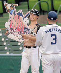 4回先頭の第2打席で右前安打を放ち通算1000安打を達成した日本ハム・西川