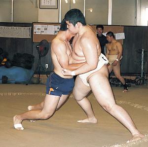 相撲部員を相手にぶつかり稽古をする梅田(左)