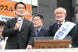 宇都宮氏の応援演説に駆けつけた前川喜平氏(左)
