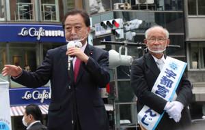宇都宮健児氏の応援に駆けつけた野田佳彦前首相