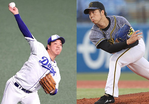 先発の中日・柳(左)と阪神・青柳