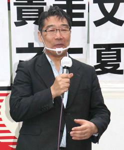 街頭演説を行った宇都宮健児氏の応援に駆けつけた前川喜平氏
