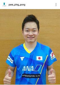 パラ卓球の公式インスタグラムで代表内定についてのコメントを発表した岩渕幸洋(para_ping_pong)