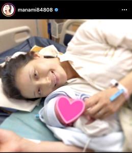 第1子出産を報告した橋本マナミのインスタグラム(@manami84808)より