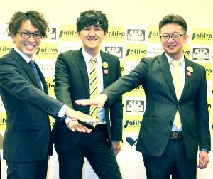 クラブ躍進を誓う左からNPO法人の豊川理事長、株式会社サフィルヴァの三木CEO、辻井COO
