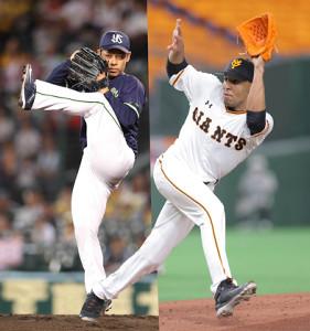 ヤクルト・小川(左)と巨人・サンチェス
