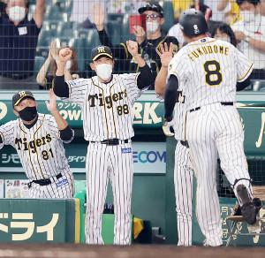 8回1死一塁、福留孝介(右手前)が決勝2ランを放ち、ガッツポーズで迎える矢野燿大監督(左から2人目)