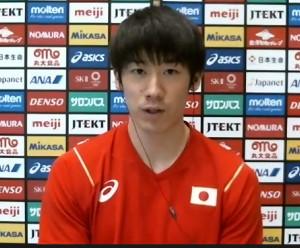 オンラインで取材に応じたバレーボール男子日本代表・石川祐希
