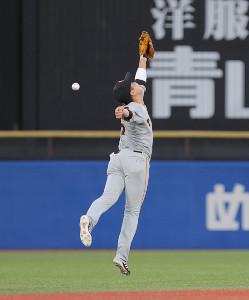 2回2死、西田明央の中前安打の打球に飛びつく坂本勇人(カメラ・中島 傑)