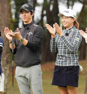 昨年11月のテレビマッチでの石川遼と渋野日向子