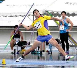 東京選手権男子やり投げを制した新井涼平