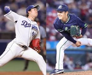 中日・勝野(左)とヤクルト・小川