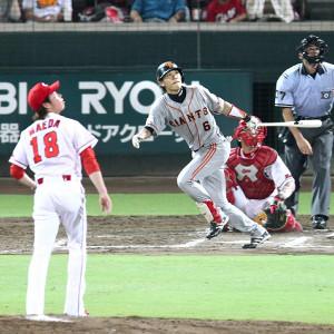 2010年7月30日広島戦、前田健太との同級生対決で左越え19号ソロを放った坂本勇人