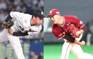 ロッテ・中村稔(左)と楽天・福井