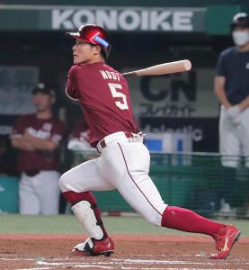 2回2死一、三塁、逆転の中越え3ランを放った茂木栄五郎